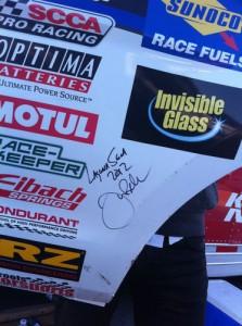 Justin Bell signed Mustang RF fender