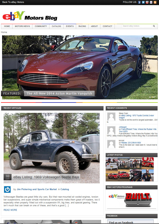 A Look at eBay Motors New Blog Design | eBay Motors Blog