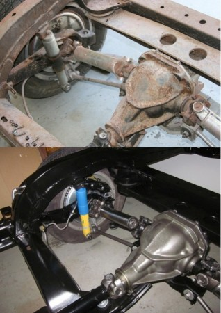 rear suspension before and after restoration