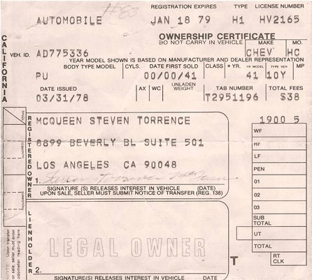 1941 Chevrolet Pickup pink slip owned by Steve McQueen