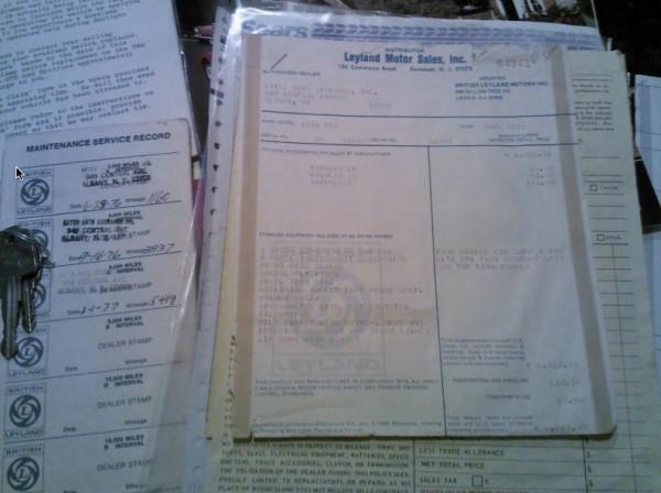 1976 Triumph TR6 original documents