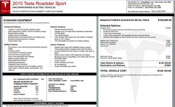 2010 Tesla Roadster 2.0 original window sticker