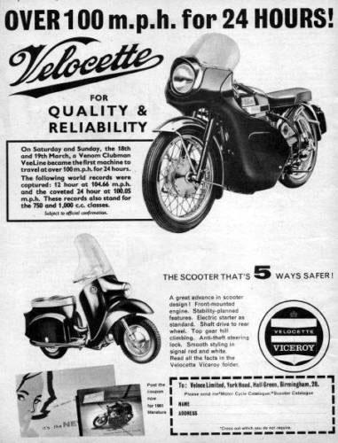Original ad for 1961 Velocette Venom Clubman motorcycle.