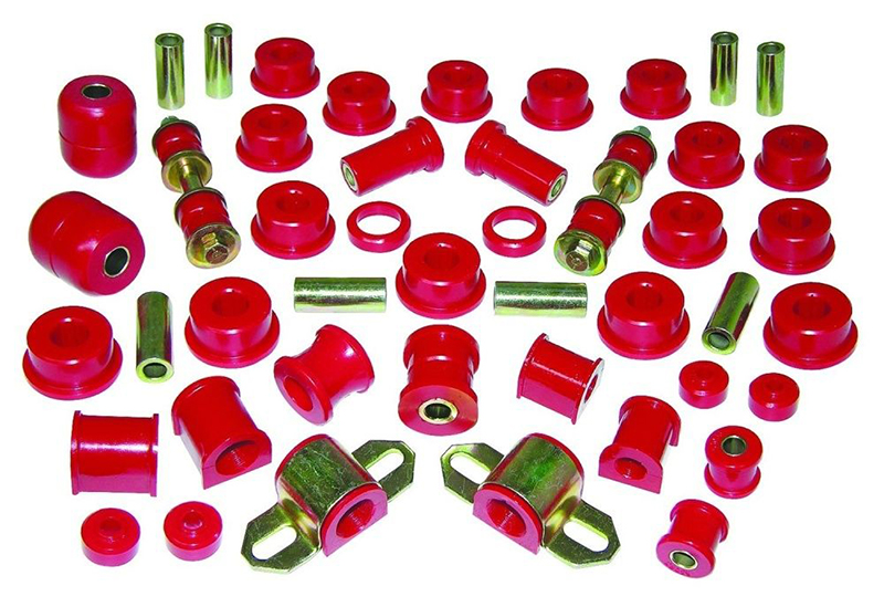 Over time, rubber bushings can wear out. The solution can be found with a bushing replacement kit.