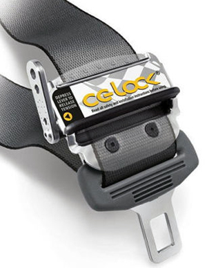 A CG Lock will tighten the hold of a three-point seat belt.